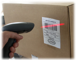 Reading AWB label bar code with hand scanner